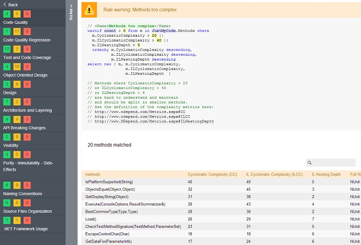 code query in ndepend report