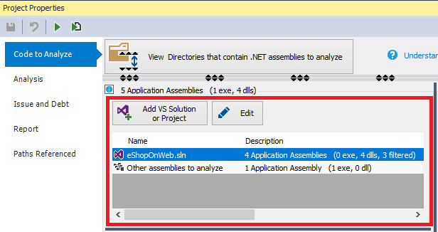 ndepend project can reference assemblies and visual studio solution