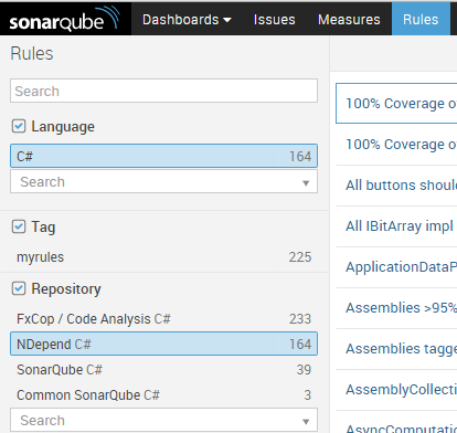 Activate the NDepend Rules in the SonarQube repository