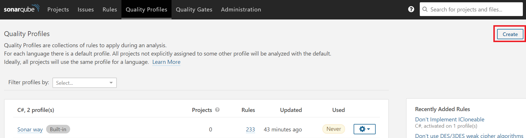 ndepend sonarqube extension create a custom quality profile