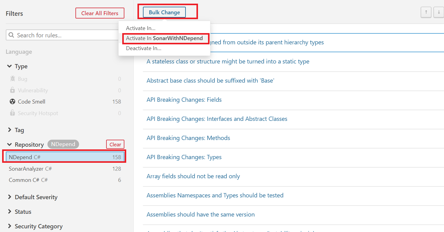 ndepend sonarqube extension bulk change button