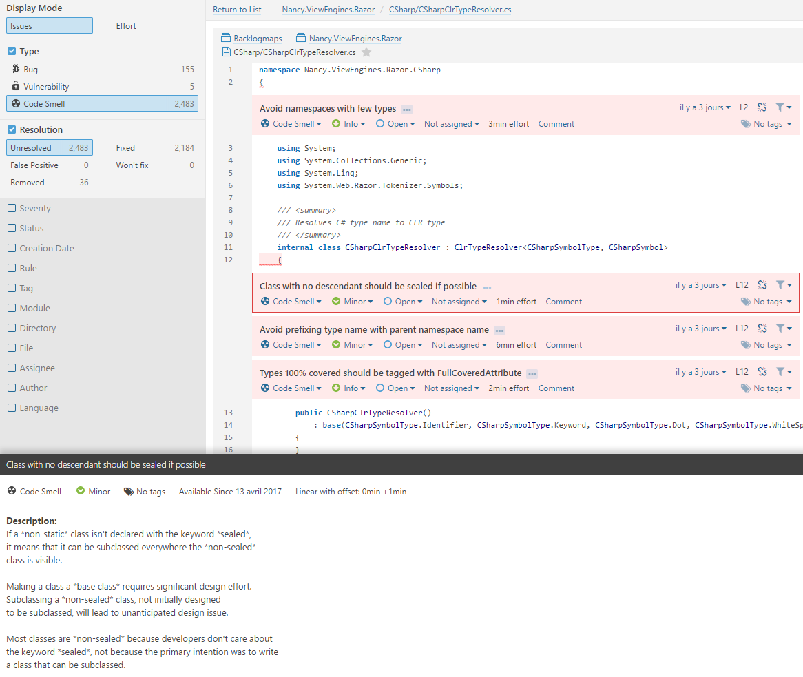 NDepend Issues in the SonarQube interface