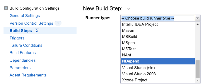 ndepend teamcity integration choose ndepend build runner
