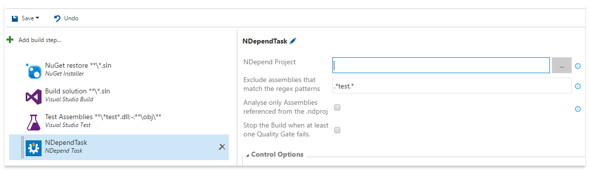 Add the NDepend task to your build workflow