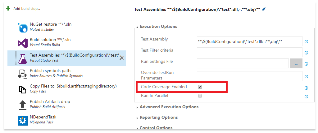 Enable the code coverage