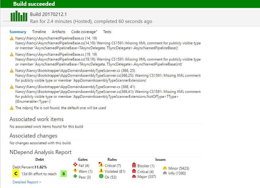 Azure DevOps NDepend plugin: Dashboard