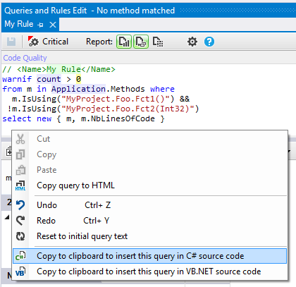 ndepend cqlinq csharp linq code rule copy to clipboard fo insert in csharp code