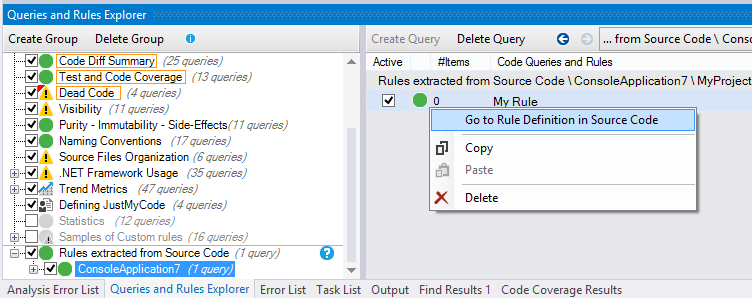 ndepend go to rule definition in source code