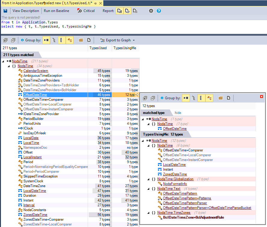 Browsing all classes dependencies with an NDepend code query