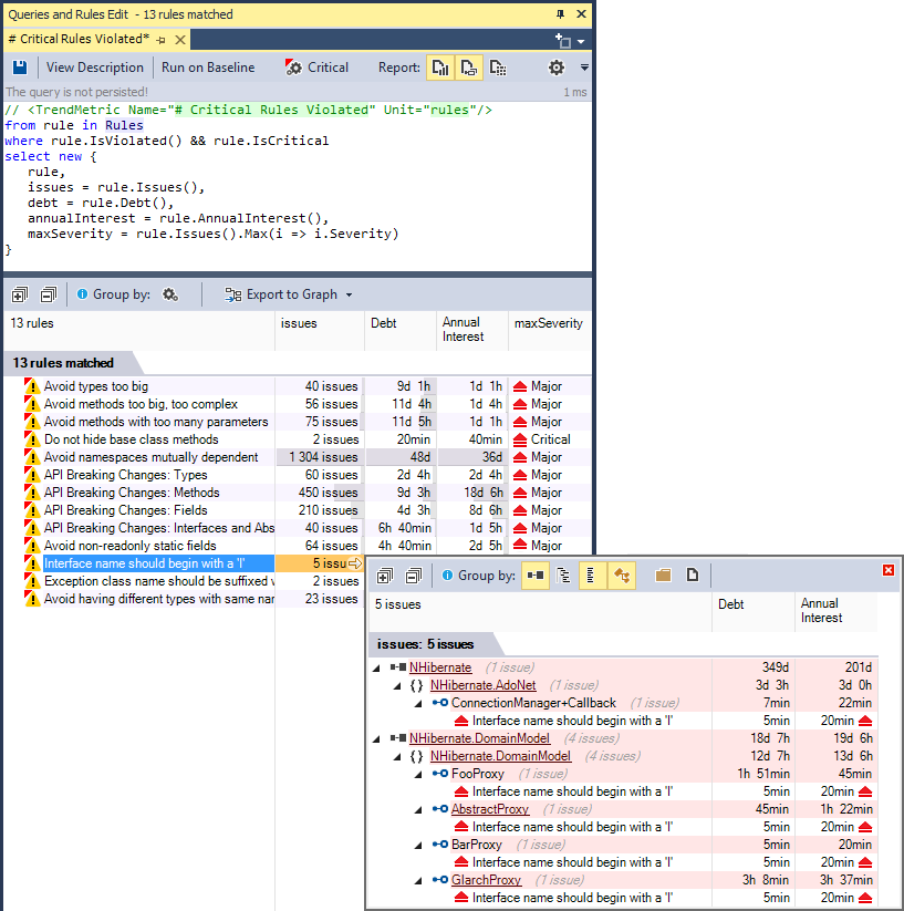 ndepend code query result browsing