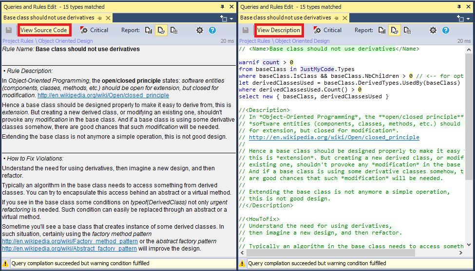 Code Query Description View vs. Source Code View