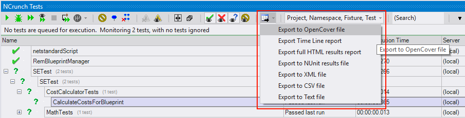 Exporting NCrunch coverage data to OpenCover XML file format