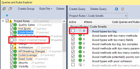 Disabling a rule in the Rules Explorer panel