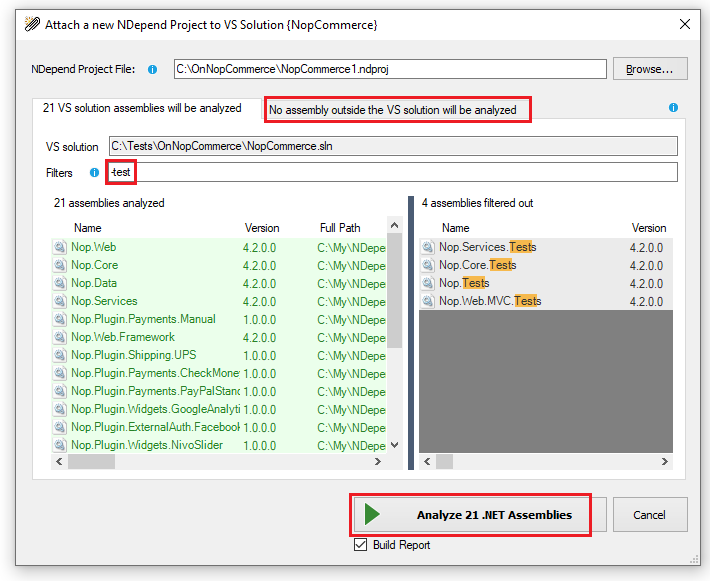 attach new ndepend project to the current visual studio solution dialog