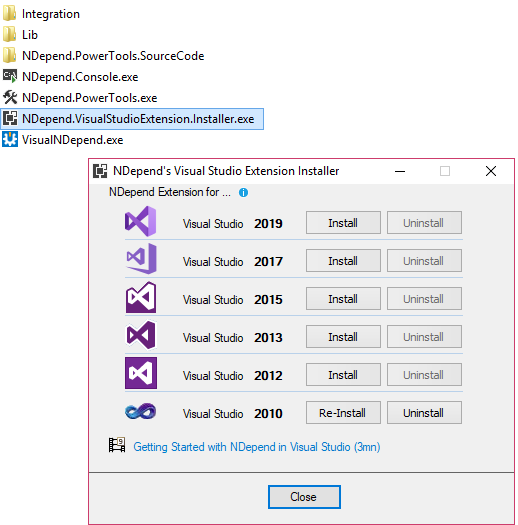 visual studio vsix installer of the NDepend extension
