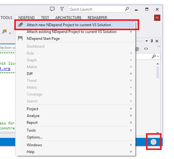 attach new ndepend project to the current visual studio solution menu
