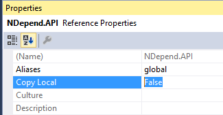 visual studio project copy local equals false