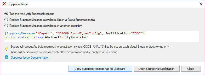 NDepend Suppress Issue Form