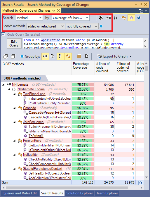 Visual Studio Search Coverage Changes