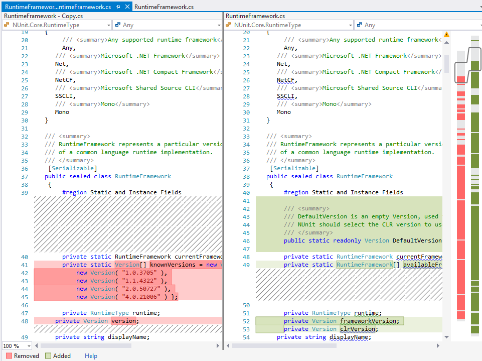 Advanced Code Diff in Visual Studio
