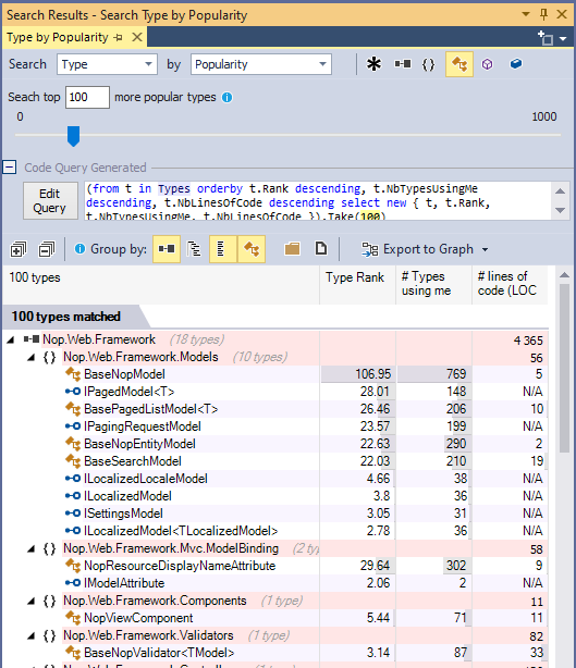 ndepend search classes by popularity with code query generation