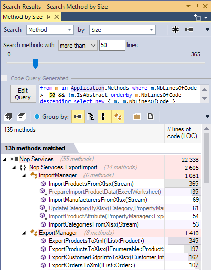 ndepend search methods by size with code query generation