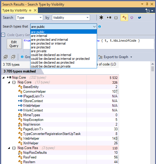 ndepend search classes by visibility with code query generation