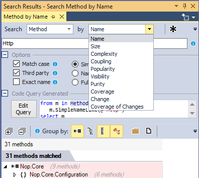 ndepend search code element through various criteria