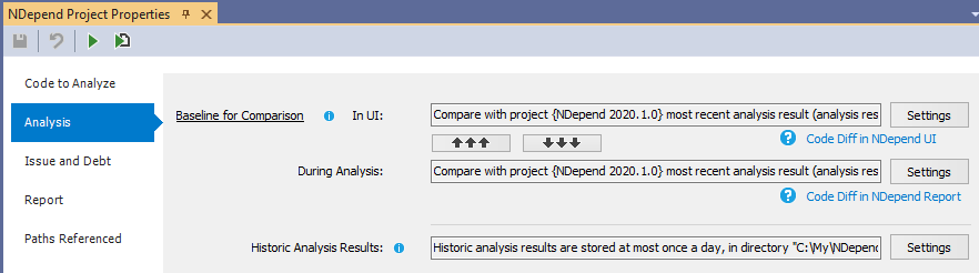Baseline Settings Defined in the NDepend Project Properties