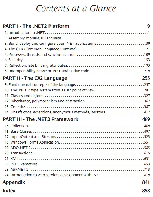 Practical .NET and C# Table of Content