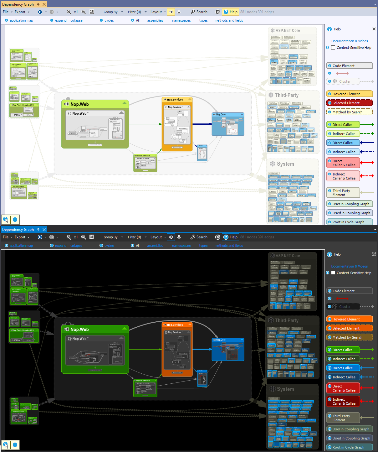 NDepend Dependency Graph support for Blue and Dark Theme