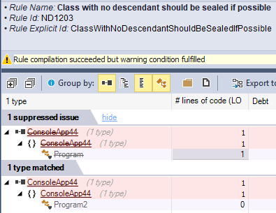 NDepend Suppress Issues of a Rule