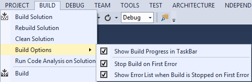 Visual Studio Build Options NDepend